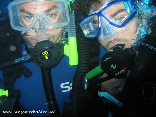 Ian Somerhalder wallpaper with a diver, an aqualung, and a scuba diver called Ian and his elder brother Bob