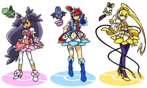 Iris, Furou, and Kamitsure dressed as Pretty Cure
