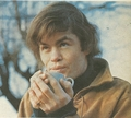 Mickey Dolenz blowing on hot drink