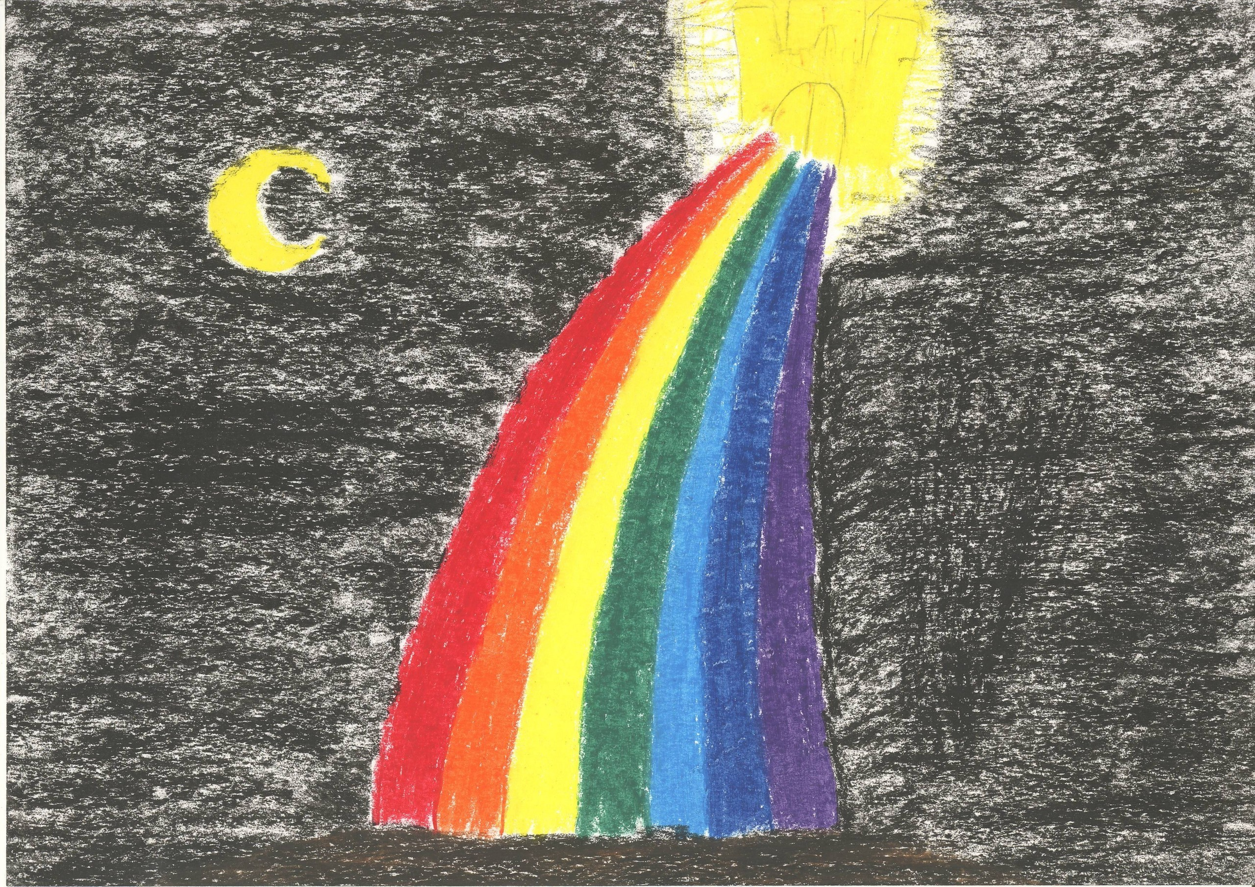 Oil pastel drawing: Rainbow and castle