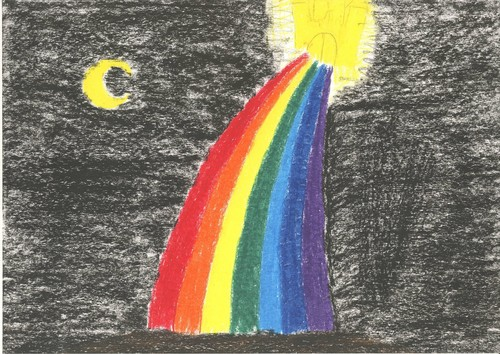 Oil pastel drawing: regenboog and kasteel