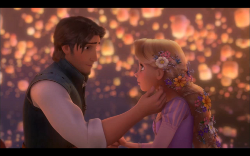 Tangled achtergrond with a bouquet called Rapunzel and Flynn
