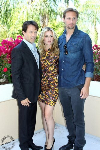 Stephen Moyer, Anna Paquin and Alexander Skarsgard at a True Blood press conference