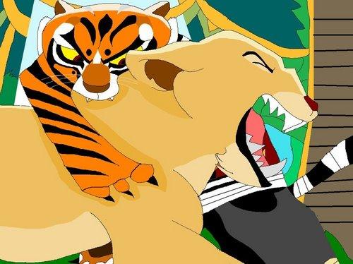 cọp cái, hổ, con hổ cái Bites Nala