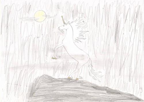 Unicorn in the moonlight