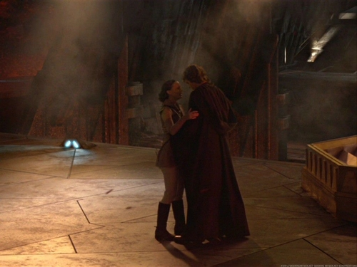 Anakin and Padme 壁纸 probably with a sign, a drawing room, and a 披风, 斗篷 called Anakin and Padme