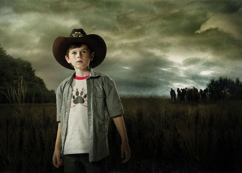 The Walking Dead wallpaper containing a boater, a fedora, and a snap brim hat titled Carl Grimes