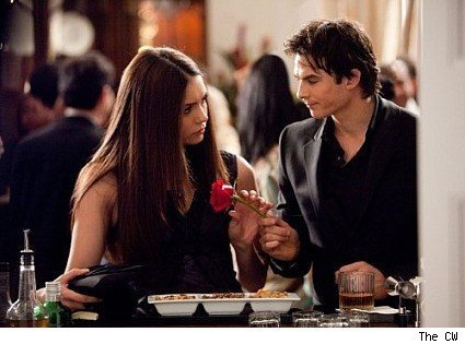 Damon & Elena wallpaper possibly containing a brasserie and a portrait entitled Damon and elena