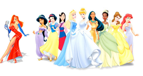 Disney Princess wallpaper probably with a dinner dress titled Disney Princess line up included Jessica Rabbit