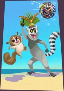 King Julien and Mort Painting