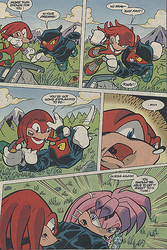 Team Chaotix (Archie) wallpaper containing Anime called Knuckles and Julie-Su first meet