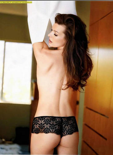 Milla Jovovich karatasi la kupamba ukuta probably containing a bikini, an underwear, and a lingerie called Milla in Maxim Italy - October 2009