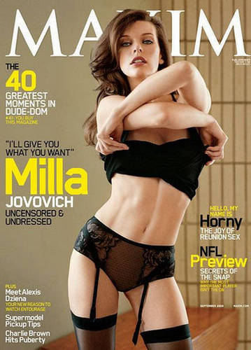 मिला जोवोविच वॉलपेपर containing attractiveness, a bikini, and skin called Milla in Maxim - September 2009