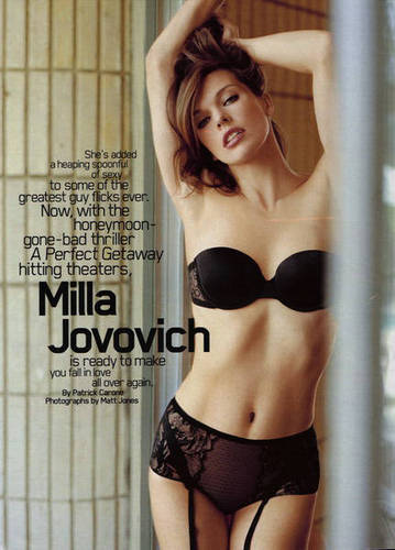 Milla Jovovich karatasi la kupamba ukuta probably containing a bikini, a brassiere, and a lingerie called Milla in Maxim - September 2009