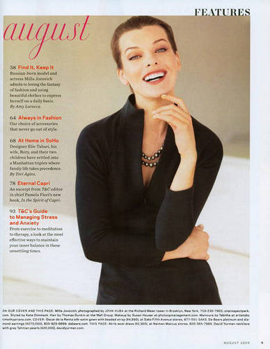 Milla Jovovich karatasi la kupamba ukuta possibly with a portrait entitled Milla in Town & Country - August 2009