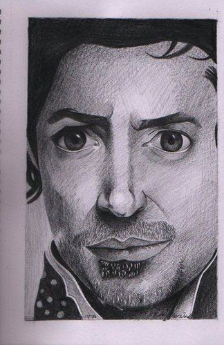 Pencil sketch of Robert Downey Jr