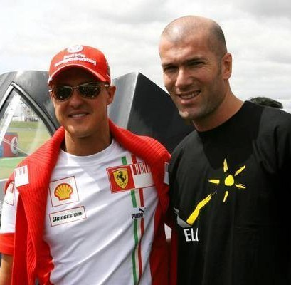 Michael Schumacher wallpaper with a jersey entitled Schumi &  Zizou