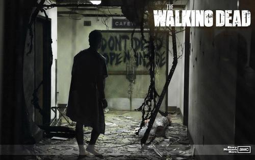 The Walking Dead wallpaper possibly containing a street, a sign, and a revolving door called The Walking Dead Wallpaper