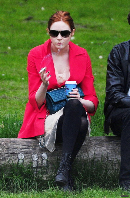 Karen Gillan smoking a cigarette (or weed)