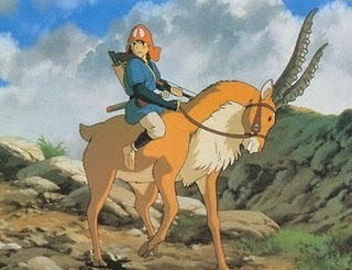 Princess Mononoke wallpaper possibly with a horse wrangler, a horse trail, and a packhorse called Ahitaka and Yakkul