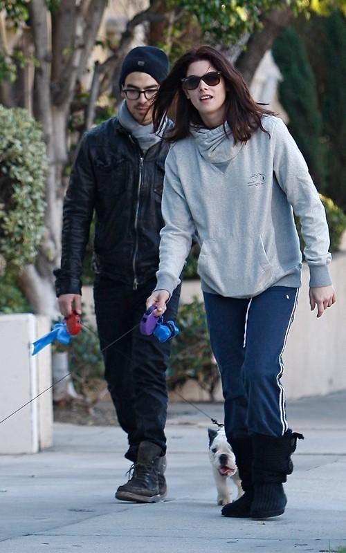 Ashley and Joe Jonas Walking their সারমেয় in LA - November 26, 2010