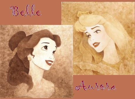 Disney Princess wallpaper probably with anime titled Belle and Aurora