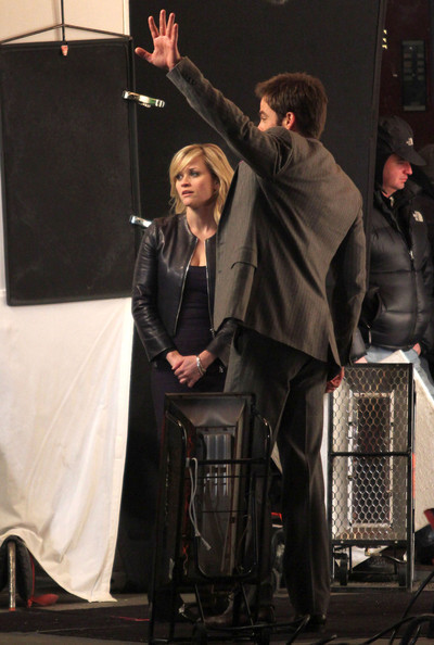 """Chris and Reese on the set of """"This Means War"""""""