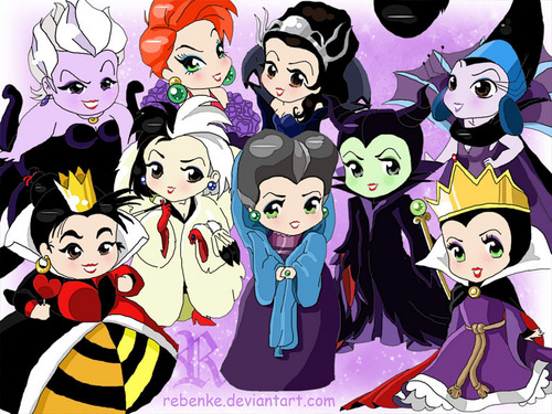 Disney Villainesses - chibi - disney-leading-ladies Fan Art