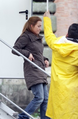 "Hayden on set ""The Amanda Knox Story"""