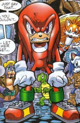 Knuckles letting his anger mostra