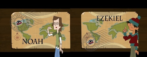 Total Drama Island wallpaper probably with a packing box and a sign entitled Noah & Ezekiel