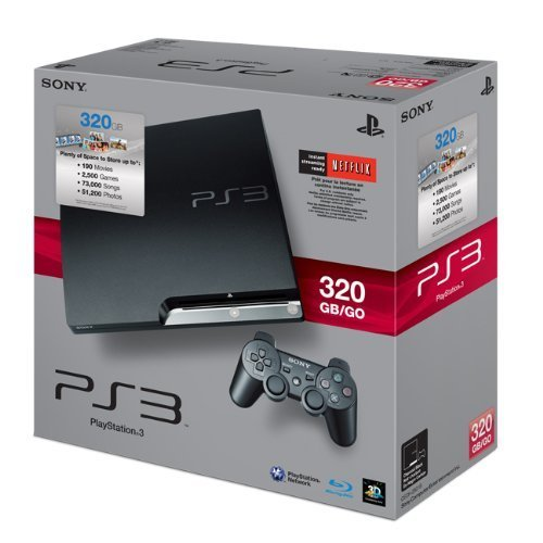 Playstation wallpaper probably containing a packing box titled PlayStation 3 Slim 320 gb
