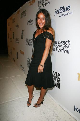 Q'orianka Kilcher in a Black Dress at an Event