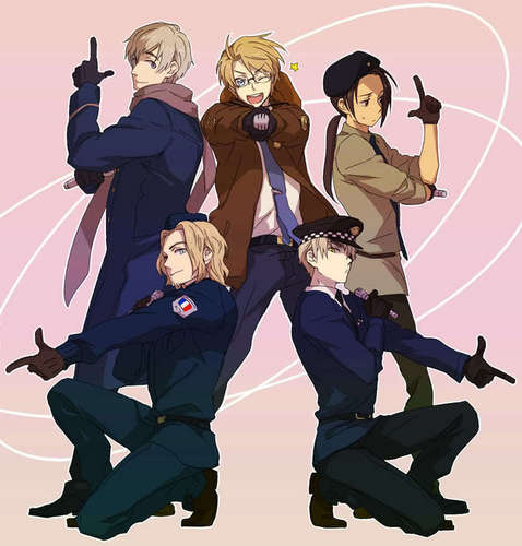 Hetalia kertas dinding titled Russia, Us, Uk, France, china