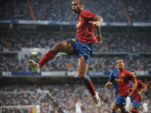 T. Henry playing for Barcelona