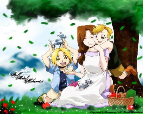 The Elric family (Ed, Al, and Trisha)