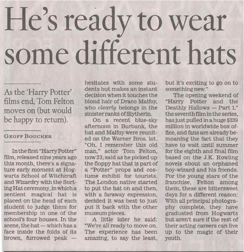Tom's interviw in the Los Angeles Times