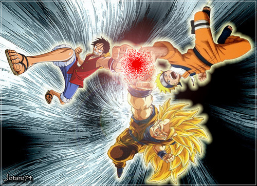 dbz naruto and one peice crossover