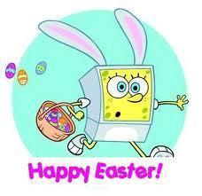 spongebob as the easter bunny :3