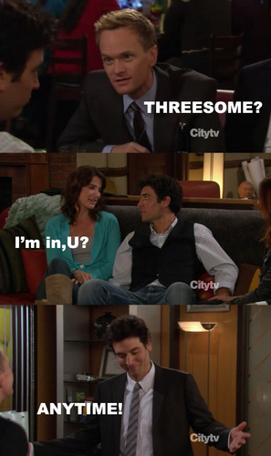 How I Met Your Mother achtergrond containing a business suit, a brasserie, and a reading room called threesome