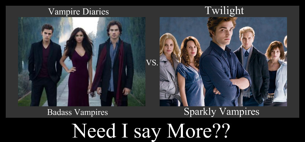 comparison essay twilight vs vampire diaries Werewolves vs vampires especially with book such as twilight and new moon becoming a the vampire's speed and agility vs the werewolf's sheer muscle and.