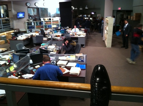 CM Set, Paget Applying Makeup at her bureau