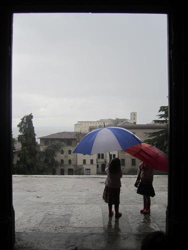 Children under an umbrella