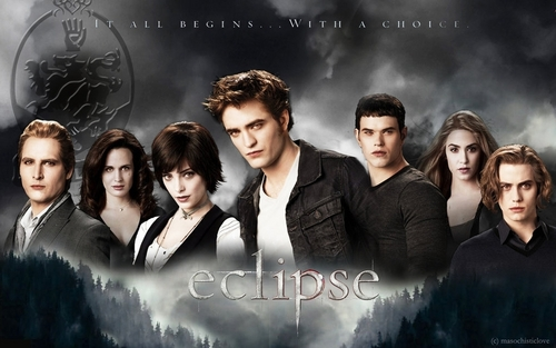 The Twilight Saga: Vampires,Wolves wallpaper containing a well dressed person, a business suit, and a portrait entitled Cullen Family Wallpaper Eclipse