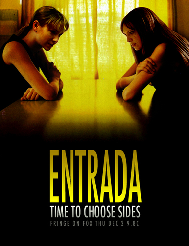Fringe wallpaper with a sign titled Entrada
