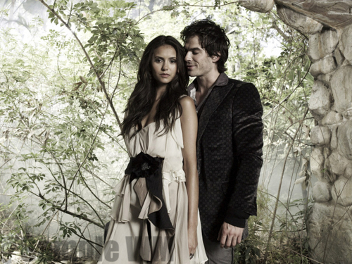 Ian Somerhalder and Nina Dobrev wallpaper probably with a dinner dress and a bridesmaid called I&N / D&E
