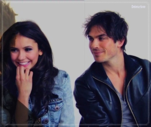 Ian Somerhalder and Nina Dobrev wallpaper probably containing a well dressed person and a portrait entitled Ian/Nina ღ