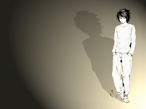L wallpaper probably with a well dressed person entitled L Lawliet