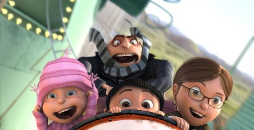 Margo, Agnes, Edith, and Gru on a Rollercoaster!!