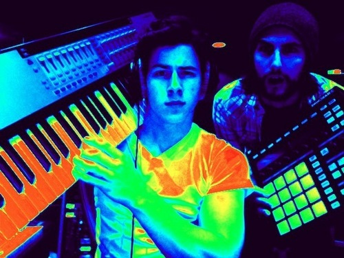 Nick Jonas in the studio